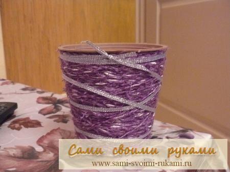 Декор квіткового горщика нитками