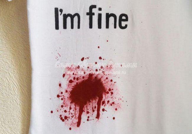 Як намалювати кров фарбами на тканині (розпис на футболці)