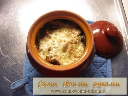 Пельмені в горщиках (горщику) з сиром і грибами - рецепт